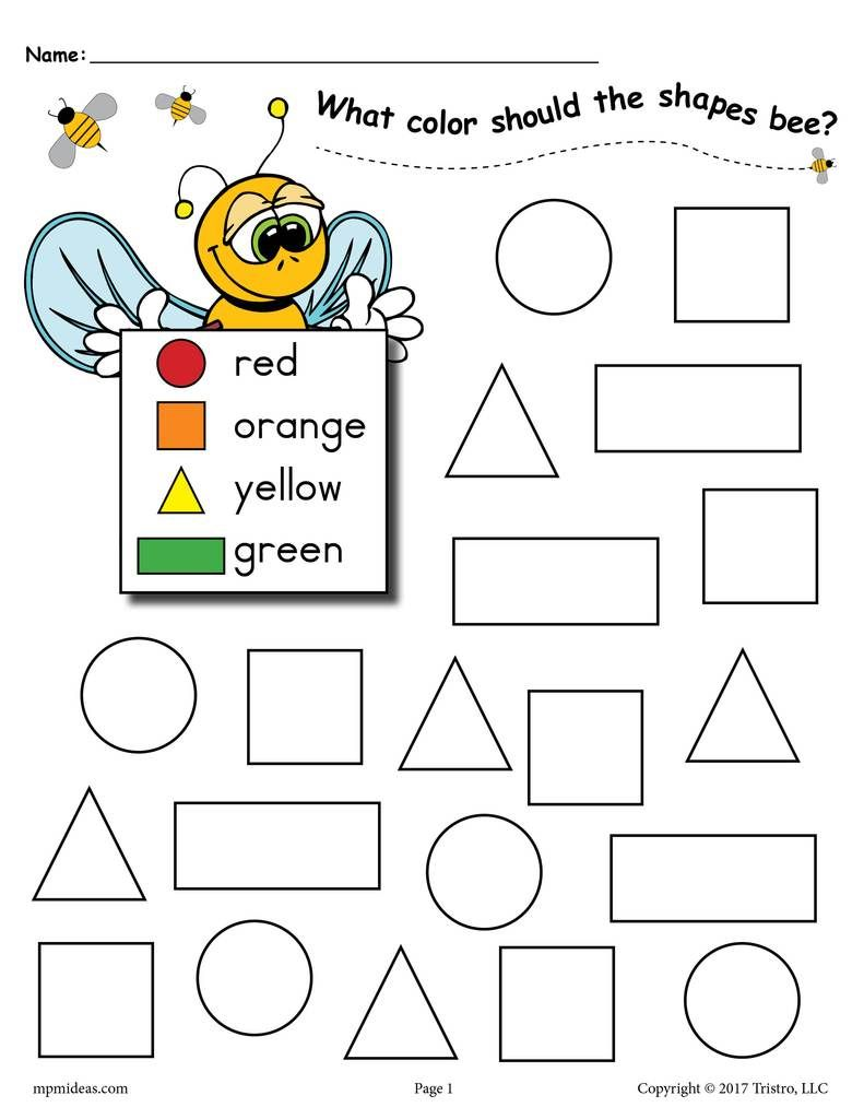 6 Free Bee Themed Shapes Coloring Pages Pre K Activities Shape