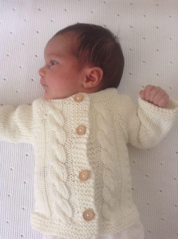 Knit Baby Boy Baby Girl Sweater/Cardigan /Ecru/Pure Cotton ...