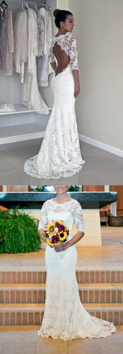 Mermaid Spitze Rückenfrei Brautkleid mit Halbarm | Perfect bride ...