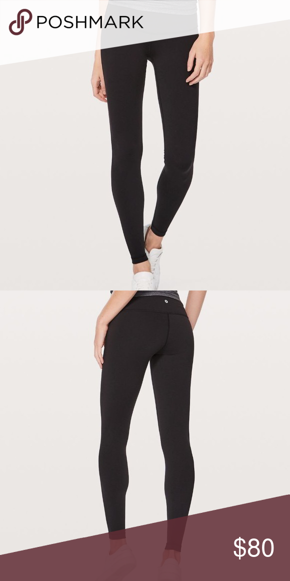 "e5bb0415b7b61 EUC Black Wunder Under 28"" legging Worn once! Just not the right size for  me! Size 8 Lululemon Wunder Under Low-Rise Tight Full on Luon 28"" Will add  ..."