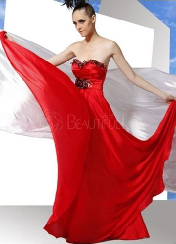 Pretty Red Satin Sweetheart Sequins A-Line Evening Dress#dress