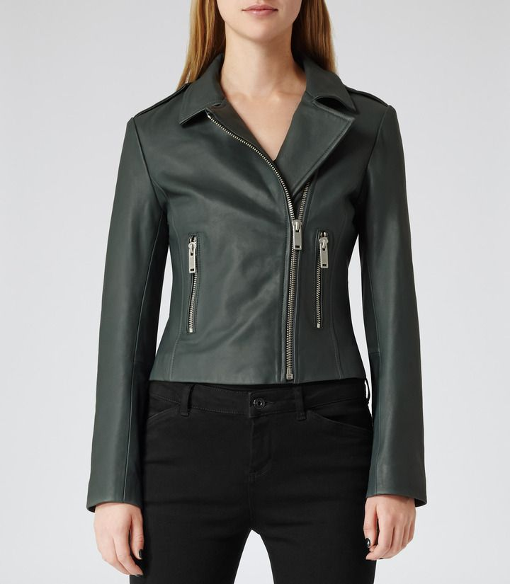 Dark Green Leather Biker Jacket By Reiss Buy For 660 From Reiss