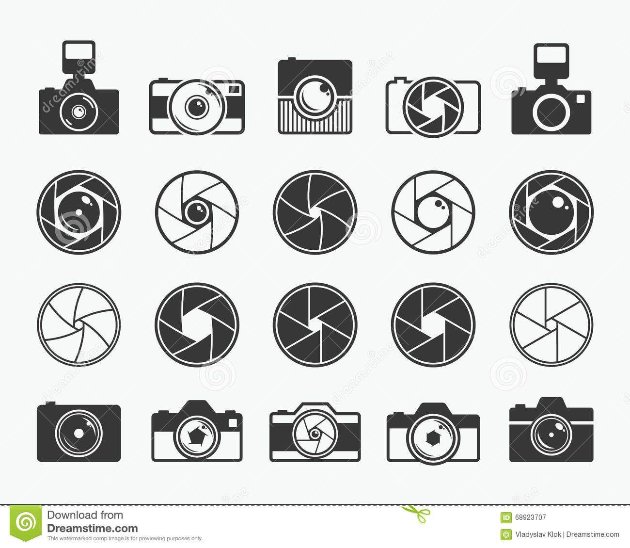Camera Shutter Lenses And Photo Camera Icons Stock Vector Illustration Of Element Pictogram 68923707 Camera Icon Camera Tattoos Camera Art