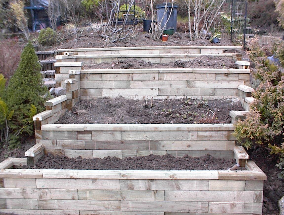 WoodBlocX terracing Garden retaining wall, Raised flower