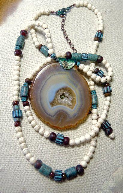 PATINA TREE SWING Long Gemstone Necklace by BraceletsofBlueRidge