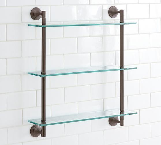 mercer triple glass shelf antique bronze finish home 2002 rh pinterest com