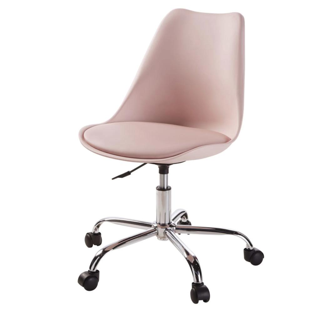 Chaise De Bureau A Roulettes Rose En 2020 Chaise Bureau Idee