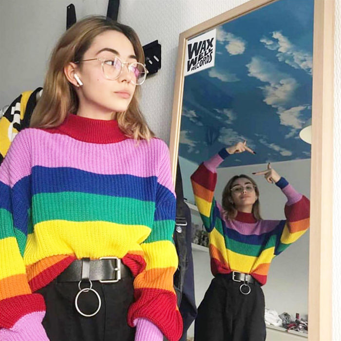Rainbow Striped Turtleneck Sweater In 2020 Rainbow Outfit Retro Outfits Aesthetic Clothes
