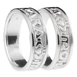 Silver My Soul Mate Claddagh Band Ring Set Celtic Wedding Rings Claddagh Ring Wedding Irish Wedding Rings
