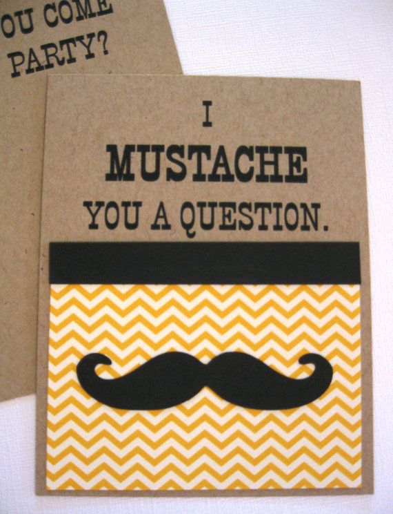 Mustache Party Invitations Set of 8 Mustache party invitations
