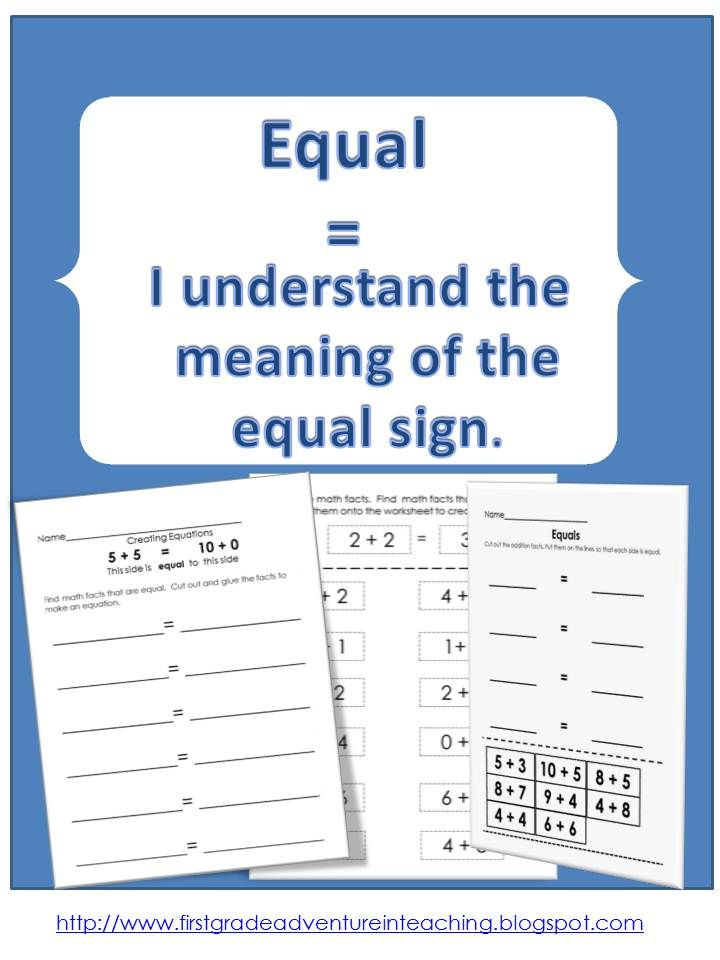The Meaning Of The Equals Sign First Grade Math First Grade