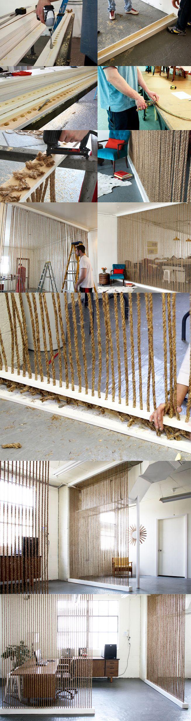 Muros divisorios con cuerdas diy pinterest diy room divider