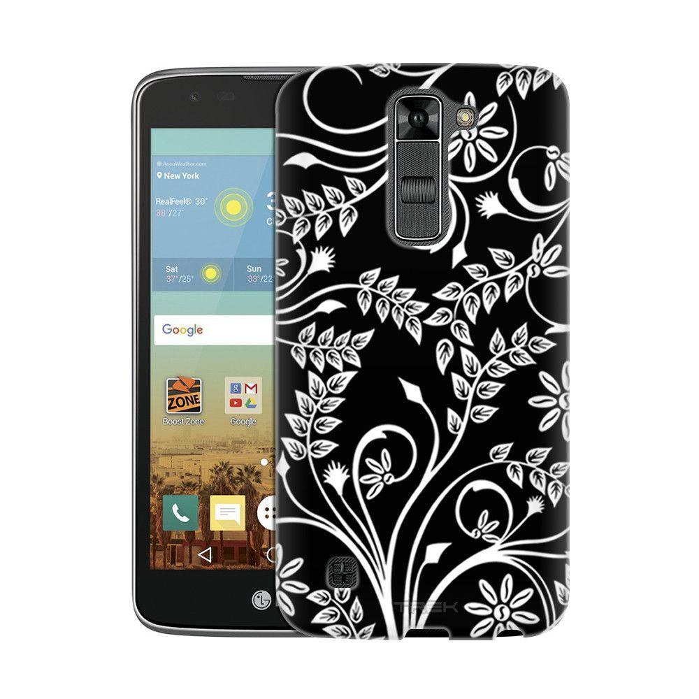LG K8 Twigs Flowers White on Black Slim Case