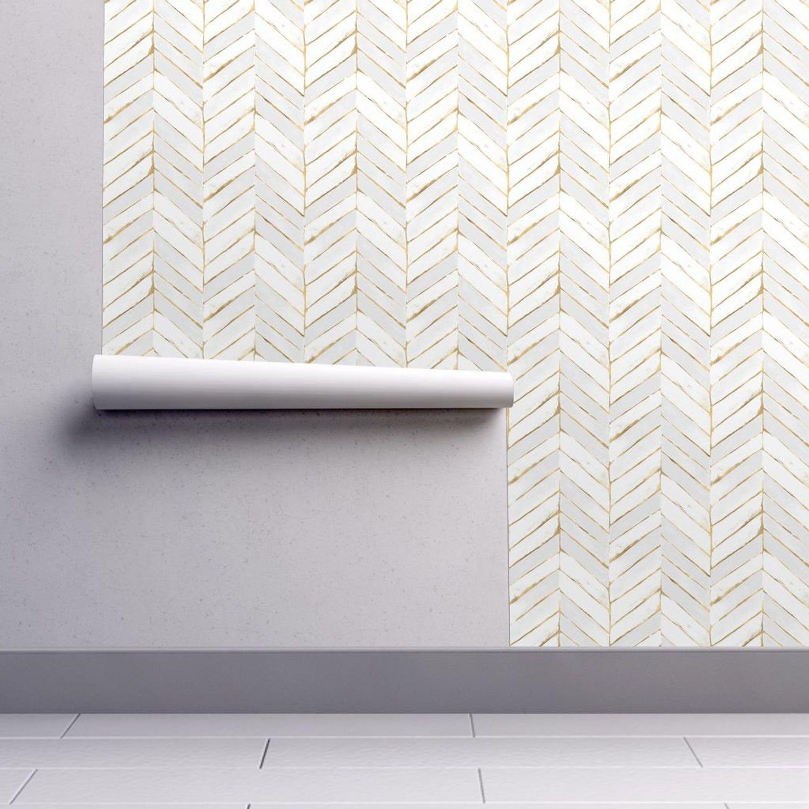 Peel-and-Stick Removable Wallpaper Chevron White Gold Herringbone