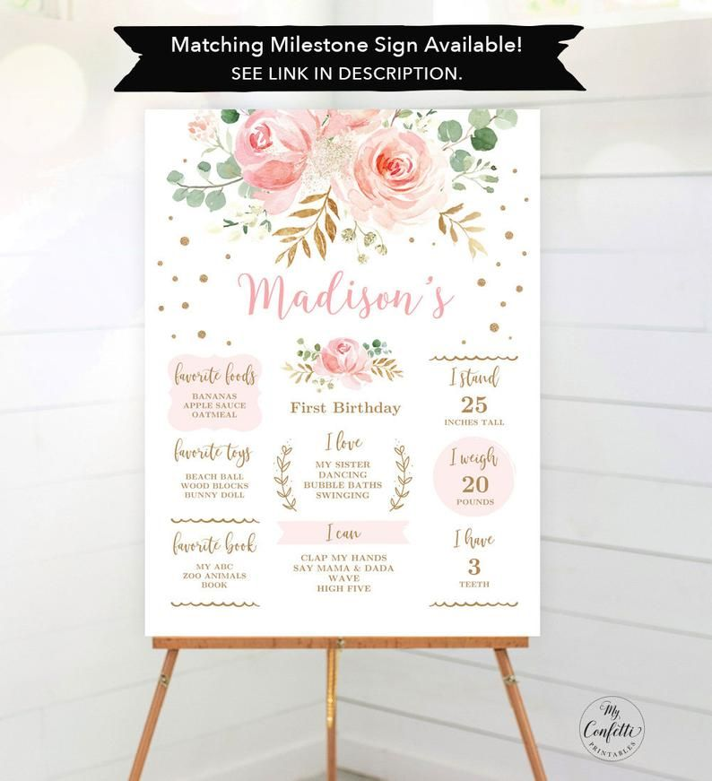 Girl Birthday Blush Pink and Gold Welcome Sign Welcome Sign Birthday 1st Birthday Party Sign Onederful Birthday First Birthday Sign