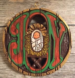 1975 HALLMARK Nostalgia Joy Christmas Holiday Ornament Baby Jesus Vtg Resin