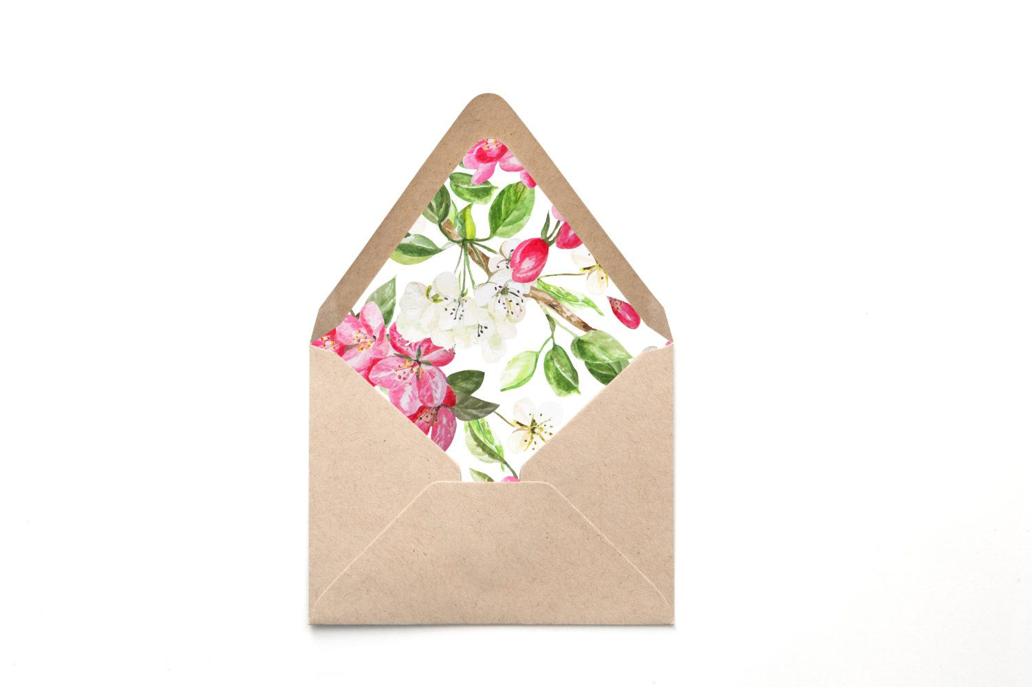 Envelope Liner Template Pink And White Blossoms Print Liner