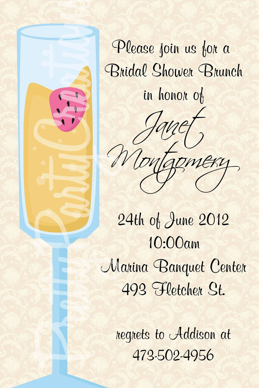mimosa bridal shower brunch invitation you print 2 to choose