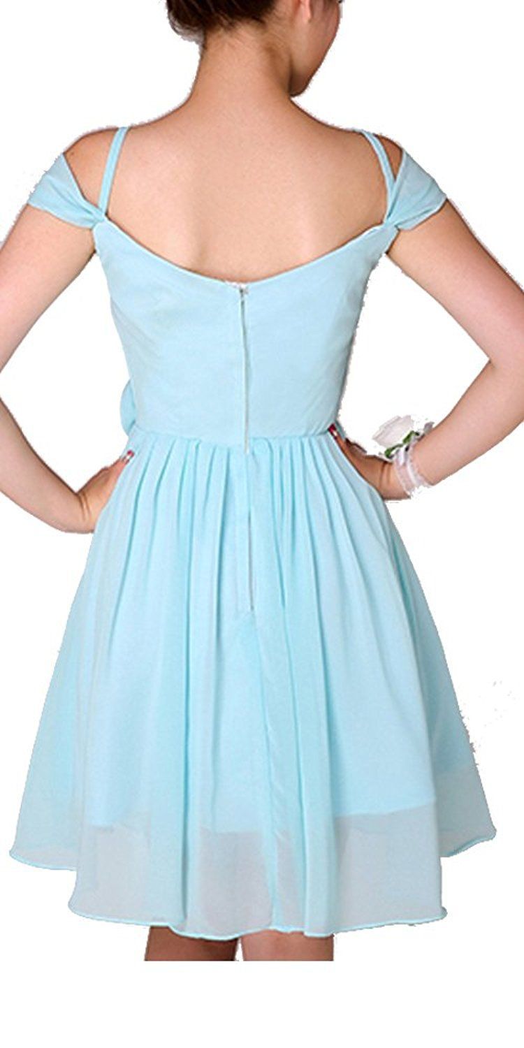 Teal floral short prom dress bridesmaid dress with spaghetti straps