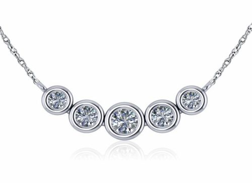 cedaf5e8a7b434 Graduated Round Cubic Zirconia Five Stone Bezel Set Curved Trapeze Necklace  in 14k white gold by Ziamond. #ziamond #cubiczirconia #bezelset #trapeze ...