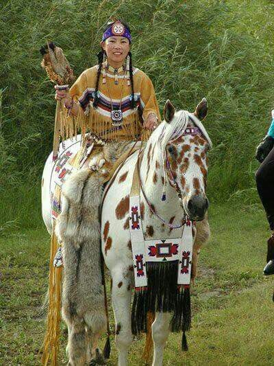 woman horse native regalia | horse racing art | Appaloosa ...