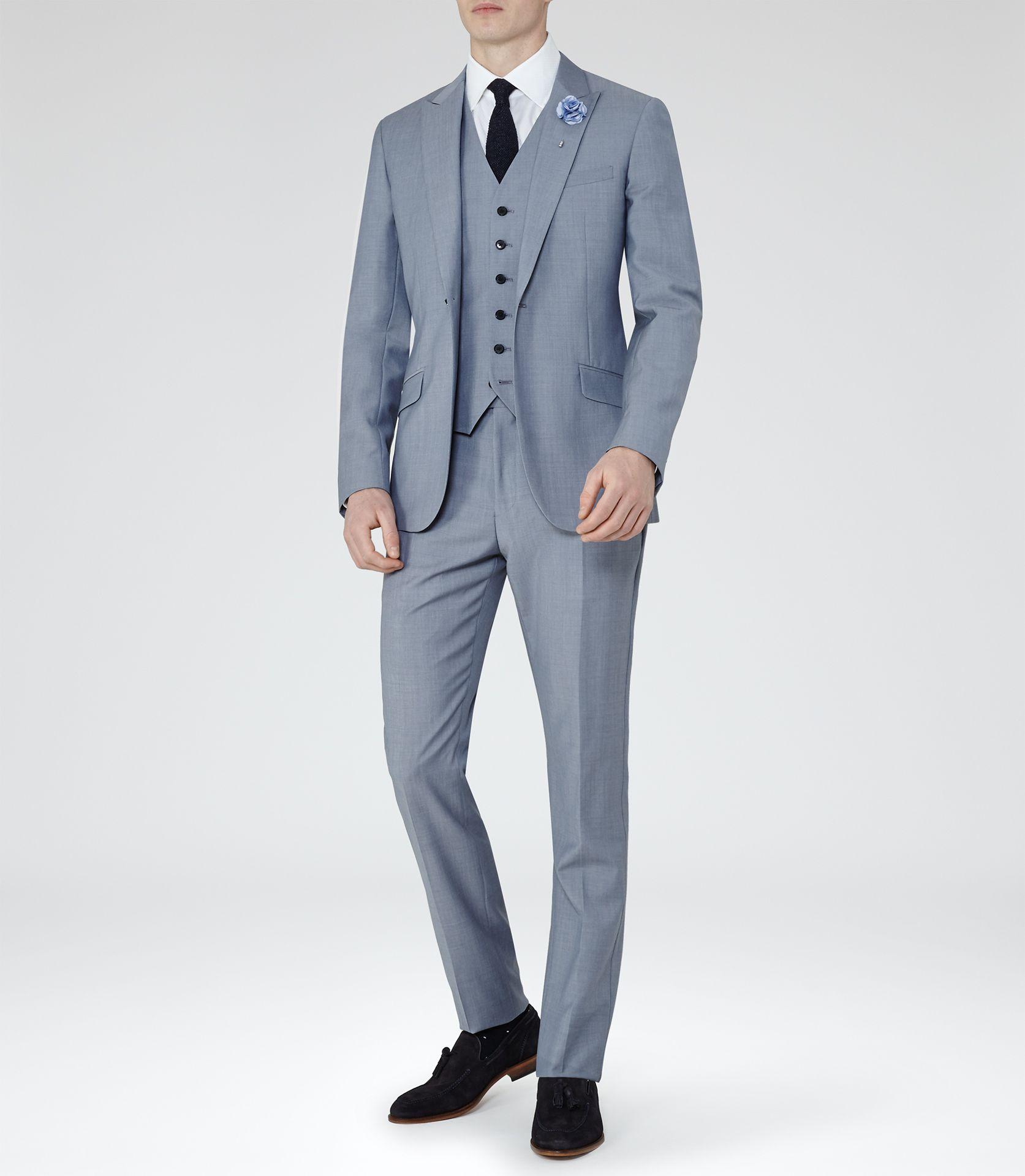 Mens Light Blue Peak Lapel Suit Reiss Milan Mens