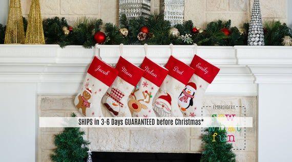 Personalized Christmas Stocking Christmas Stockings Stocking Monogrammed Stocking Embroidered Personalized Christmas Stockings Holiday Christmas Stockings