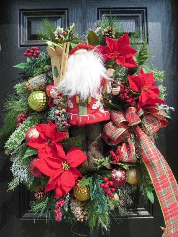 Christmas Door Wreath, Santa Wreath, Christmas Wreath,Holiday Wreath, Front Door Wreath, Xmas Wreaths Poinsettia Wreath, Door Wreath, Country