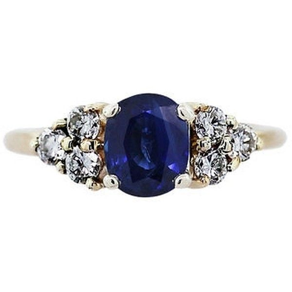 Pre-owned 14k Yellow Gold Blue Sapphire And Diamond Ring (52 270 UAH) ❤ liked on Polyvore featuring jewelry, rings, accessories, none, diamond rings, 14 karat gold ring, 14k ring, white diamond ring and 14k gold jewelry