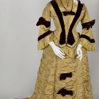Dress, American, c. 1873, Ribbed silk; silk velvet and fringe. Gift of Mrs. George A. Phelps. 1946.17