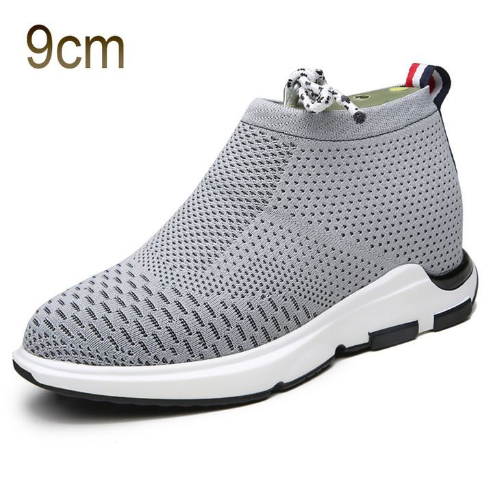 TopoutShoes - Grey Taller Flyknit Shoes for Men 3.5inch / 9cm Elevator Slip  on Loafers