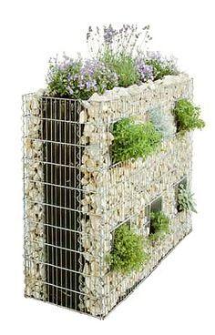 Gabion vertical garden gardening ideas yard lay outs for Bases para jardineras