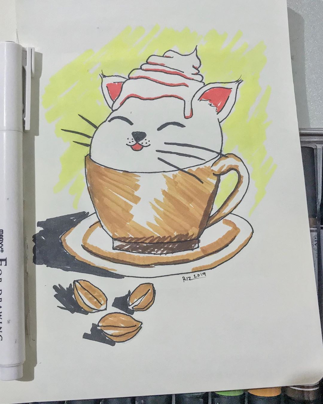 It's a Catfurccino... ha. ha. ha. Day 2 of Inktober 2019 Coffee Cat #catober  #catober2019  #inktober  #inktober2019  #ink #sketch #art #inktober2019