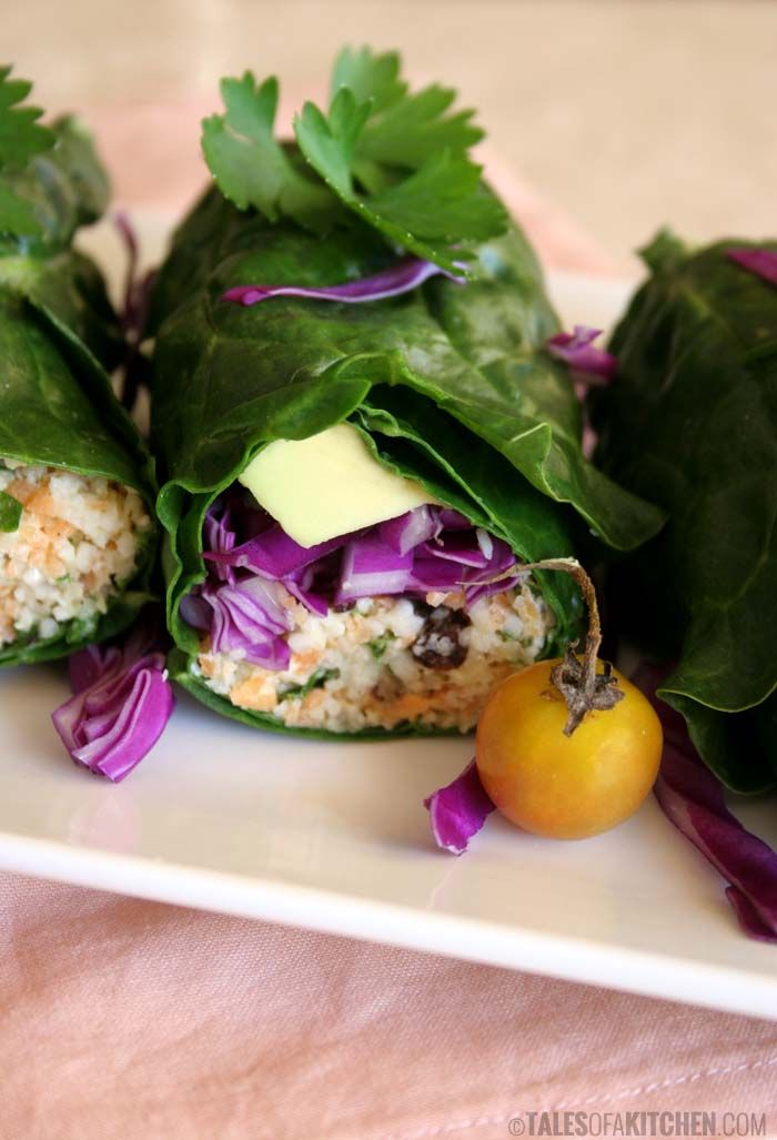 rainbow wraps with cauliflower carrot cous cous