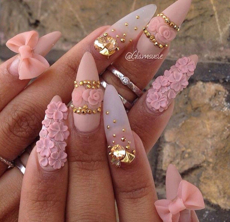 Pinkish hearts flowers   Nailssss❣   Pinterest   Flower, Nail ...