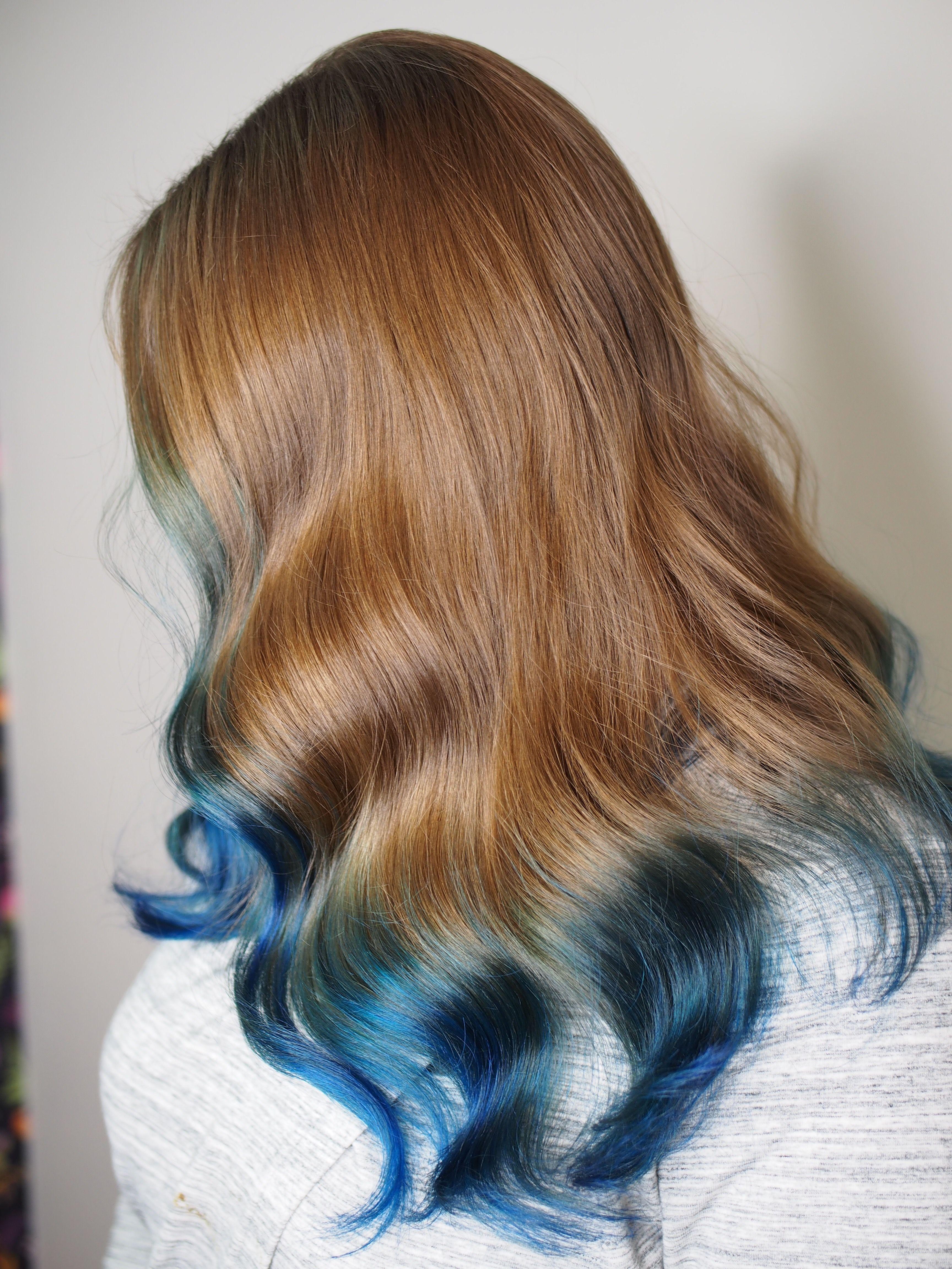 Blue Tipped Hair Blue Ombre Blue Hair Hair Styles Long Hair Styles Blue Hair