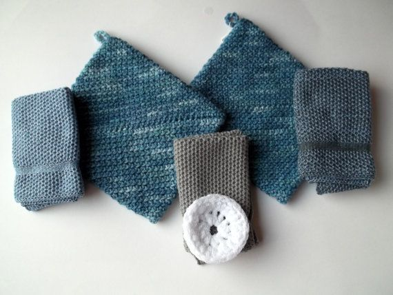 Dishcloths Potholders and Scrubbie in Blue by TheNeedleHouse 21.95