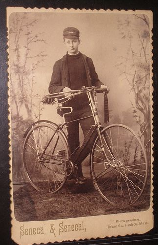 Young man with bicycle Antique cabinet photo from victorian age