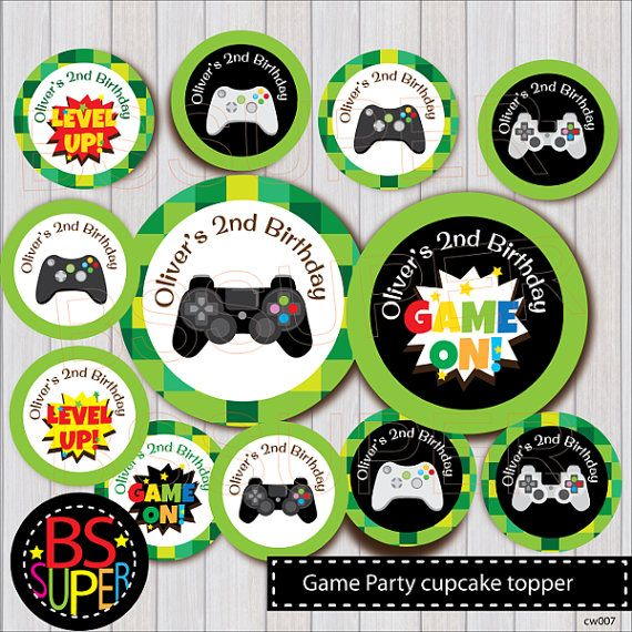 Video Game Party Cupcake Topper, Game Party Cake Topper