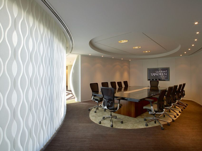 Vertical Blind System With Wave In A Conference Room Of The Tandeem Group Kuwait