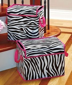 2pc Zebra Print Black Pink U0026 White Storage Bins Closet Bedroom Organizer Box