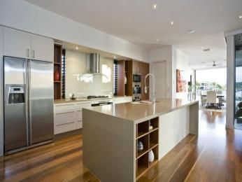 modern kitchen-dining kitchen design using floorboards - kitchen