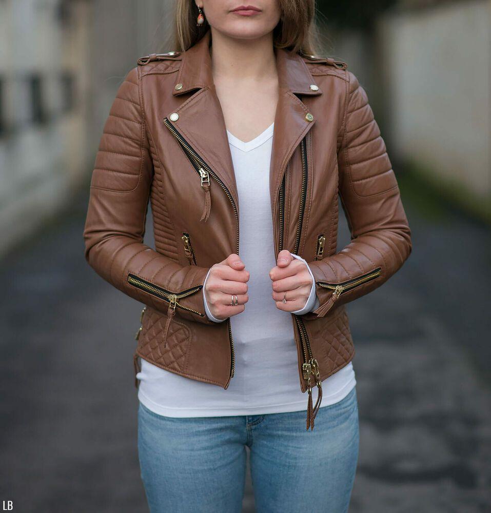 Women/'s Casual Tan Leather Biker Jacket