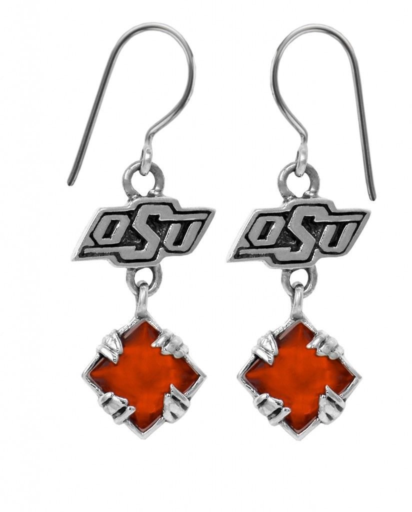 Engagement Rings Okc: Sterling Silver OSU Earrings With Orange CZ #Okstate