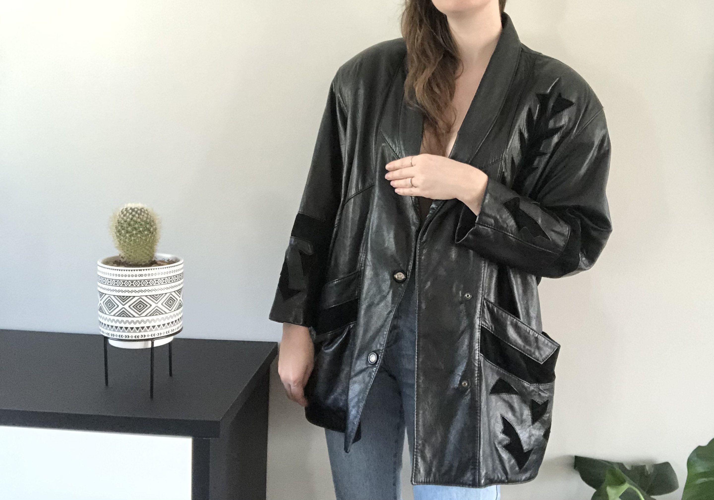80 S Vintage Black Leather Jacket With Suede Insertions Etsy Black Leather Jacket Black Leather Moto Jacket Black Leather [ 2020 x 2880 Pixel ]