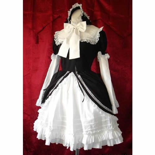White and Black Long Sleeve Vintage Victorian Gothic Style Lolita Dress SKU-11402443