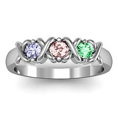 """X's"" and Birthstone Ring"