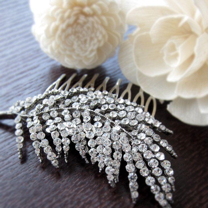 Bridal Rhinestone Hair comb, Wedding hair comb, Crystal Hair Comb, vintage style, Feather Rhinestone Hair comb - 001. $26.00, via Etsy.