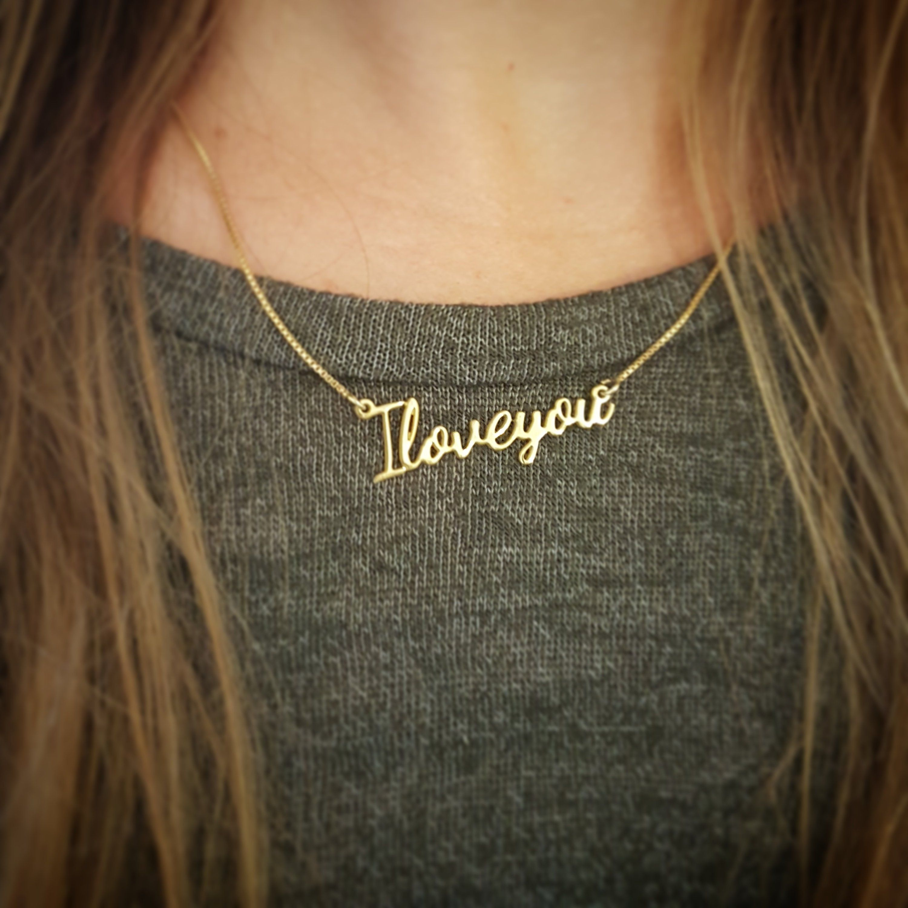 K solid gold i love you necklace real gold i love you pendant i