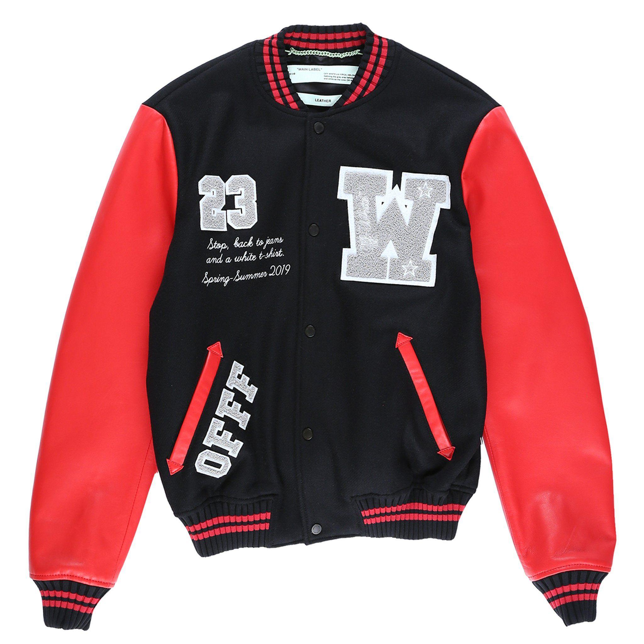 679 5 Off White Jacket Eagle Logo Leather Sleeve Varsity Jacket Black Red White Offwhite Jacket Leather Clothing Varsity Jacket Leather Sleeve Jackets [ 2048 x 2048 Pixel ]